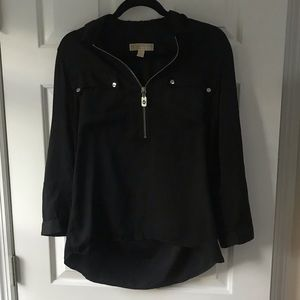 Michael Kors black blouse with silver zipper!